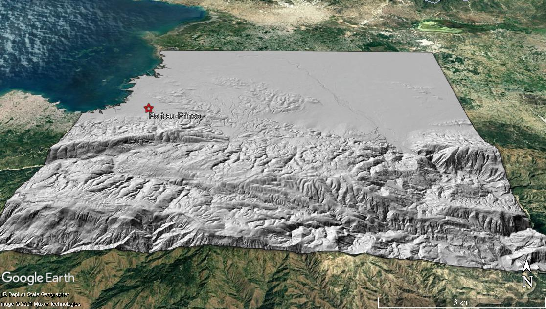 DTM looking north toward Port-au-Prince, Haiti draped on Google Earth imagery