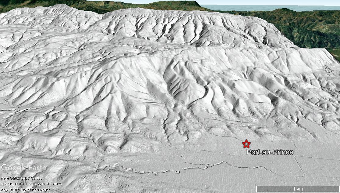 View looking south from Port-au-Prince, Haiti. DTM draped over Google Earth imagery.
