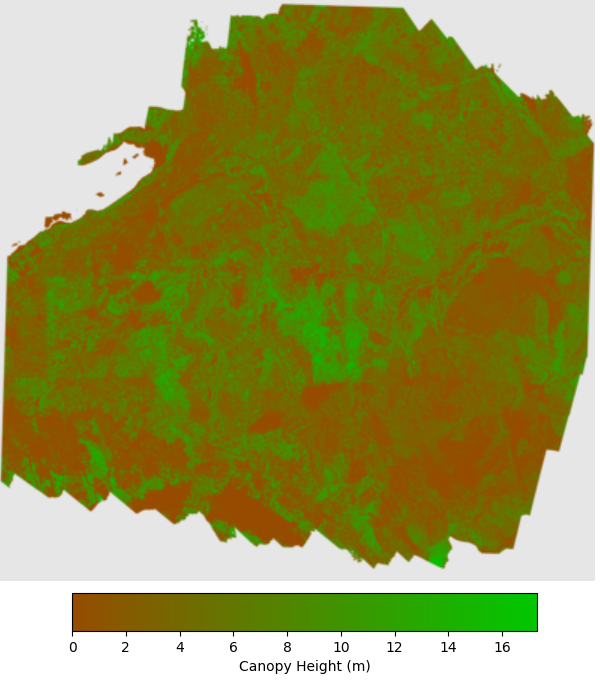 Canopy height model of area within Tahoe National Forest