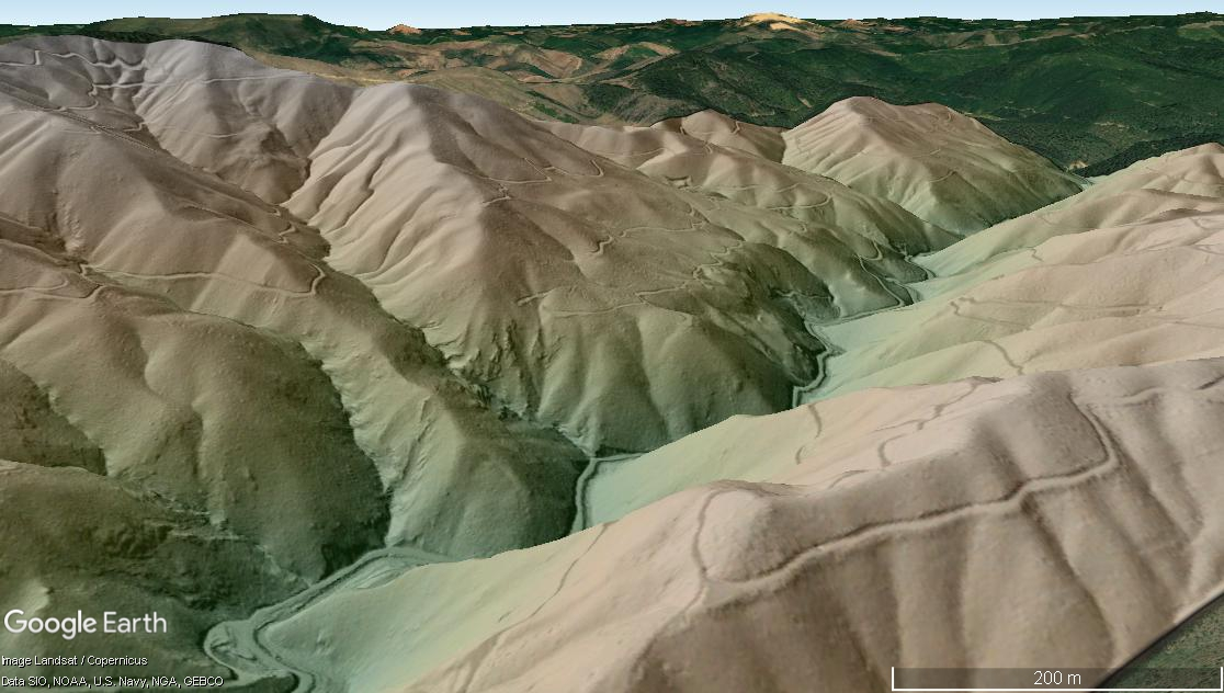 Digital Terrain Model (DTM) colored by elevation near Grand Pass, Oregon draped over Google Earth imagery.