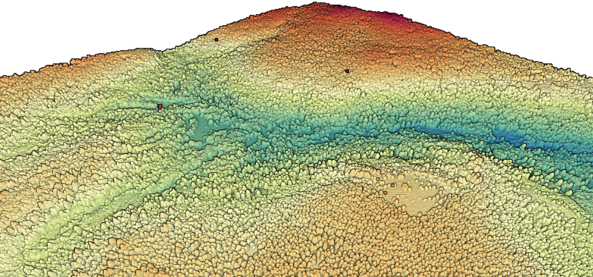 3D point cloud colored by elevation of area within Tahoe National Forest